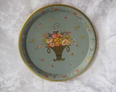 reserved Steel blue tin tray with orange and yellow flowers in a gold basket, round tray