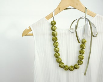 Summer necklace thread cotton for girls lace fiber natural pastel green minimalism gift idea fall fashion