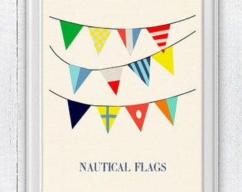Nautical code flags 3 - Vintage style poster  ,  Vintage Yachting Print - Pennants NTC043