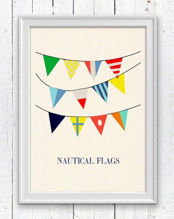 Nautical code flags 3 - Vintage style poster  ,  Vintage Yachting Print - Pennants SPN043