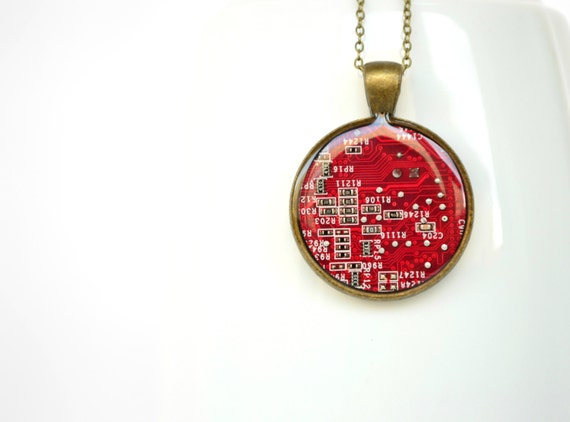 Red Circuit Board geeky Necklace Modern geometric computer steampunk jewelry