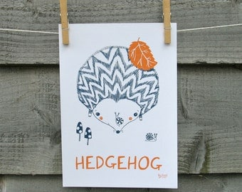 British animal print, HEDGEHOG illustration with text.  Children's nursery bedroom wall art.