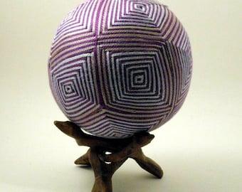 "Japanese Temari Ball - Stripe Design (4 5/10"")"