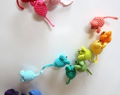 Mini Mice Crochet Pattern for  Brooches, Hair Ornaments, Christmas Decorations etc