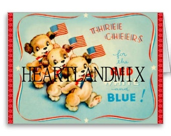 3 Cheers for the Red,White and Blue vintage digital image, 4th of July