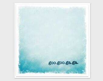 Baby Boy Card, Goo-Goo-Ga-Ga, Blue, Unique, Square, Fine Art Paper and Envelope, Square, Blank Inside