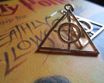 Rose Gold Plated Deathly Hallow Charm Earrings on Surgical Steel Hooks