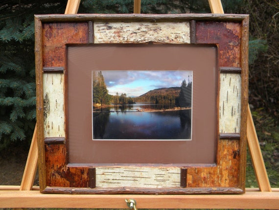 White birch picture frame rustic patchwork
