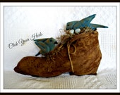 Primitive Old Boot with Bluebirds and Eggs