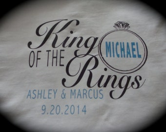 KING of the RINGS ring bearer t-shirt or onesie wedding getting married bride groom