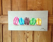 """French macarons original painting on linen canvas 15.7"""" x 7.9"""""""