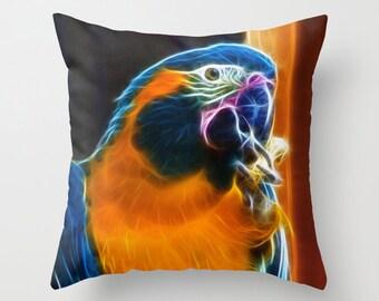 Macaw Throw Pillow Photo Pillow cover Cushion covers Pillow case Accent pillow Couch pillow Decorative pillows Bird Photo 16x16 18x18 20x20