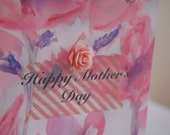 Pink floral watercolour Mother's Day card