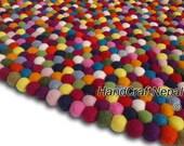 Multicolored Felt Ball Rug . Size 120 cm