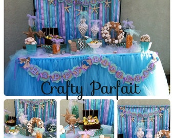 Tulle table skirt for candy station, tulle table skirt for candy buffet