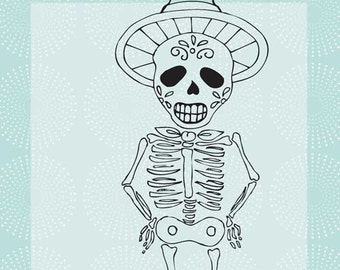 Hombre Skeleton Red Rubber Cling Stamp