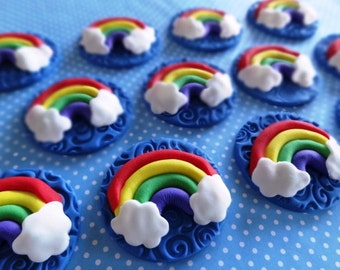 12 Fondant edible cupcake/cookie toppers - Rainbow with clouds toppers, sunshine, rainbow party, clouds, fondant rainbow, rainbow cupcake