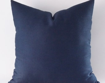 Navy Linen Pillow Cover, Cushion Cover, Decorative Throw Pillow, Modern Pillow,12,14,16,18,20,22,24,26,28,30 inches