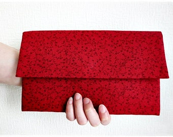 Bridesmaids large envelope clutch red floral linen clutch evening purse
