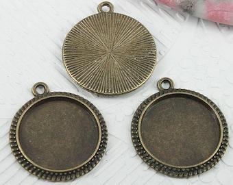 22pcs antiqued bronze round shaped cabochon settings pendant EF0747