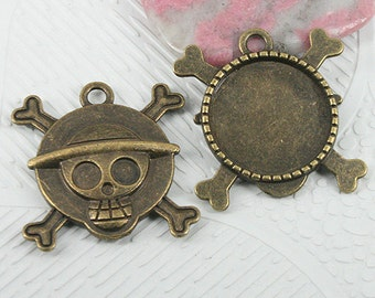 8pcs antiqued bronze color skull shaped round cabochon settings EF0754