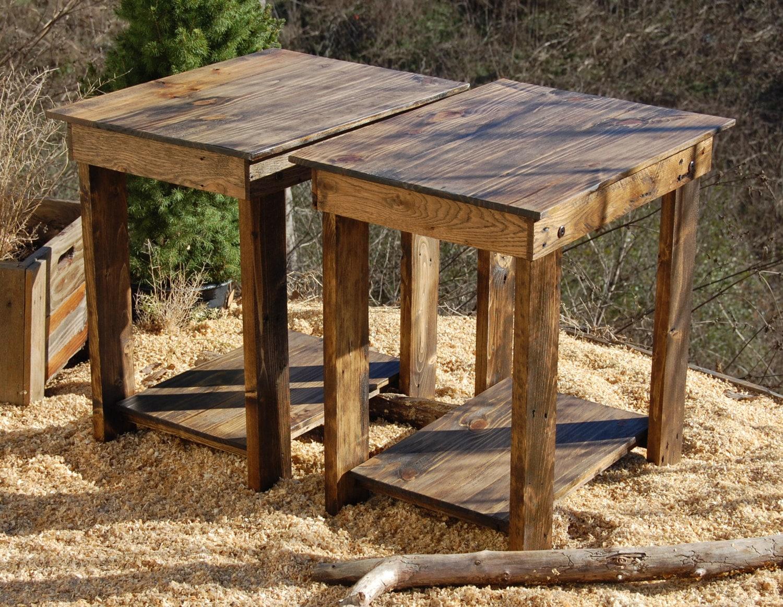 side tables nightstands reclaimed wood tables end tables. Black Bedroom Furniture Sets. Home Design Ideas
