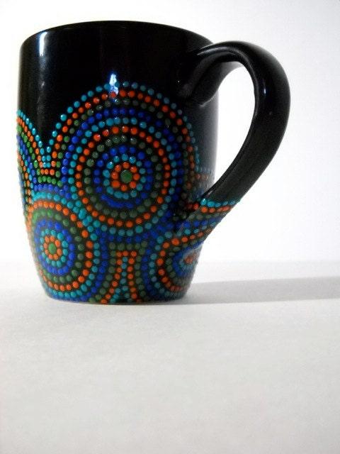 Hand Painted Black Coffee Mug By Kerryanita On Etsy