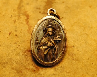 SAINT THERESA The patron of Headache sufferers migraine lovely religious amulet 1.2 x .66  religious amulet charm pendant antique no.146