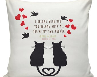 Personalized Cat LOVE Wedding Pillow Cotton Anniversary Gift Cotton and Burlap Pillow Cover Choose your Name and Date #WE0038