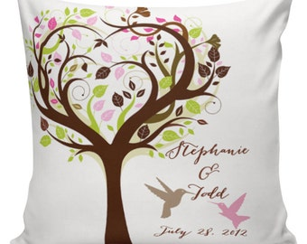 Personalized LOVE Wedding Pillow Cotton Anniversary Gift Cotton and Burlap Pillow Cover Choose your Name and Date #WE0028