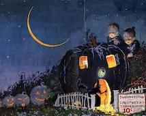 Rare! SPECTACULAR Bogie Book Jack O'Lantern House Halloween ILLUSTRATION!! Vintage HALLOWEEN Digital Download. Halloween Digital Print
