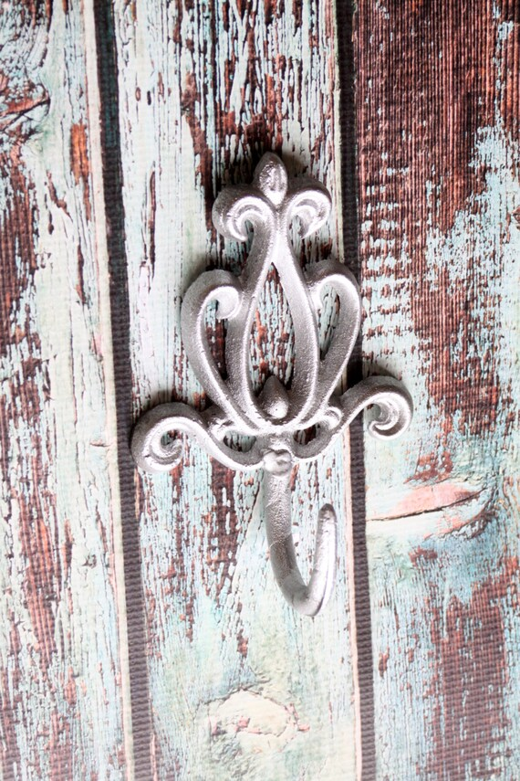 Cast iron victorian wall hook decorative coat rack metallic - Fleur de lis coat hook ...
