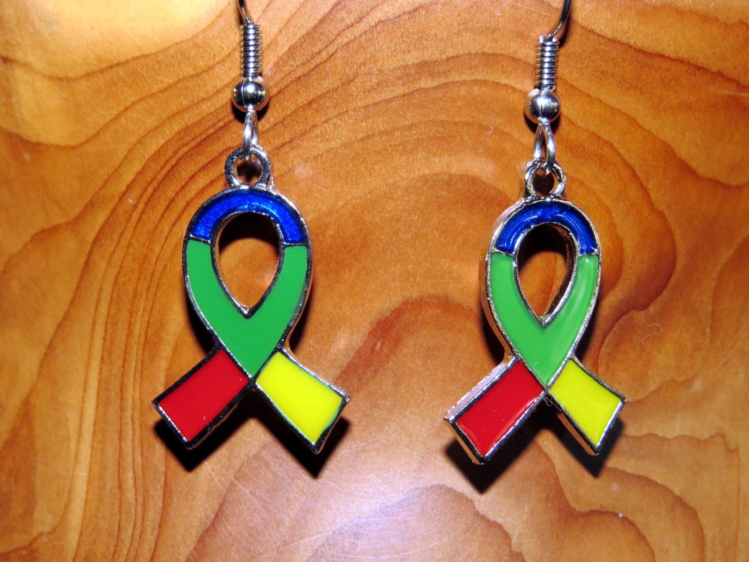 autism awareness earrings multicolored autism ribbon charms