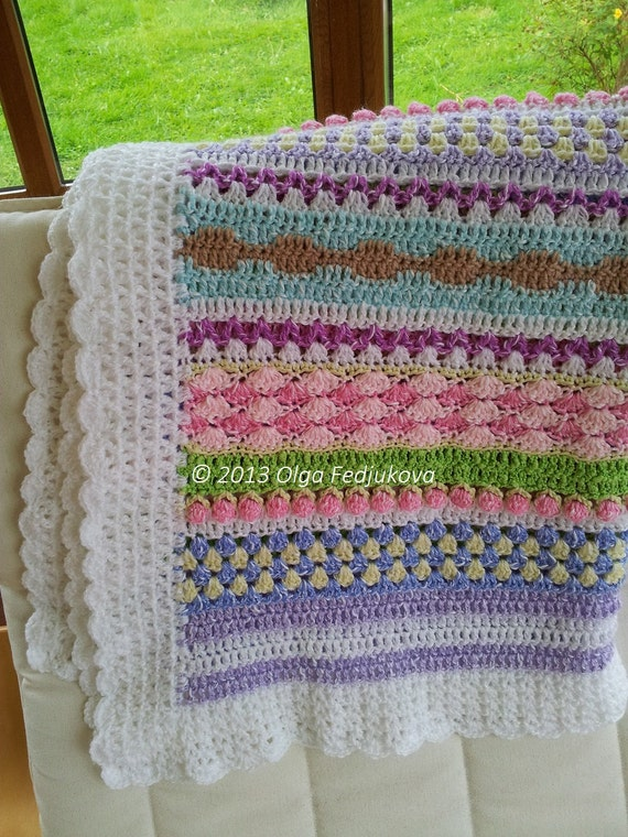 Crochet Baby Blanket Striped Pastel Multicolour Toddler Afghan