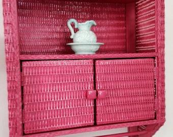 Vintage Watermelon Wicker Bathroom Cabinet