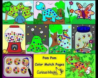 PDF Place pom-poms Busy Bag - Color Sorting