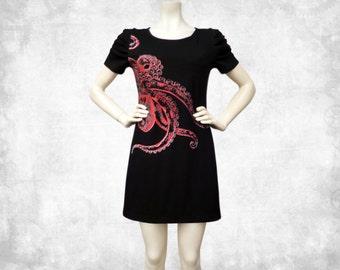 Octopus Tentacles Red Cotton T-shirt Dress