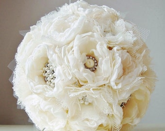Bridal Brooch Bouquet,  Wedding Bouquet,  Fabric Flower Bouquet,  Handmade Bridal Bouquet, Vintage Wedding, Off White