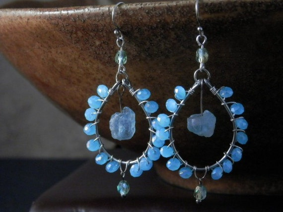 Pale blue chandelier earrings with blue-green Apatite nuggets - Free Shipping within the USA