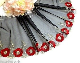 """DN543-8"""" Black Embroidered Tulle Mesh Lace Trim by Yard"""