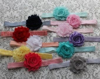 Chveron Baby Headband You Pick Aqua, Pink, Grey, Turquoise Shabby Chic Flower Headband for Newborn - Infant - Toddler - Girl  - Photo Prop