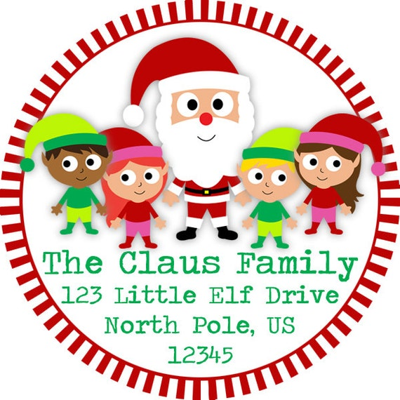 Christmas Address Labels - Red Green Striped Santa Claus and Elves Personalized Address Label Stickers - 20 Holiday Address Stickers