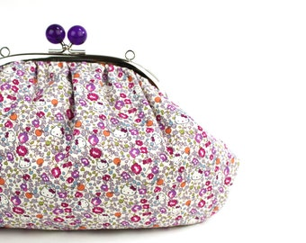 Kawaii Purple Kisslock Frame Bag, Chain included