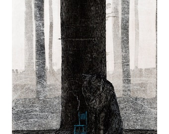 Wolf with chair and tree Limited Edition Fine Art Giclee Print