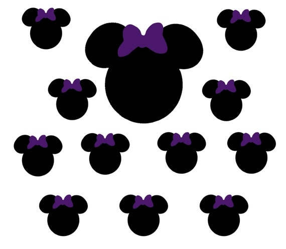 60 2 inch Black Shaped Stickers with Dark Purple Bows, Envelope Seals, Party Favors, Party Glasses, Unlimited Possiblities