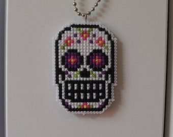 Cross Stitch Sugar Skull Necklace