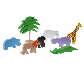 Wooden animal set, wooden toys, wood toys, toddler toys, educational toys, waldorf toys, eco friendly toy, toddler gift, learning toy