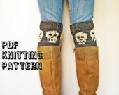 Snuggly Skull Boot Cuff Knitting Pattern, PDF Instant Download, Halloween Accessory