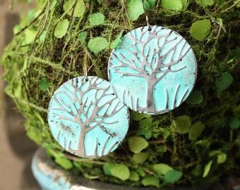 Hand painted metal tree stamped earrings