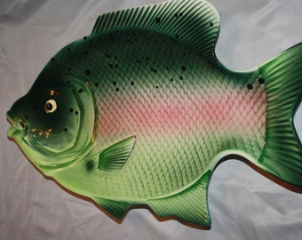 Vintage Huge Fish Wall Hanging Platter Made in Japan